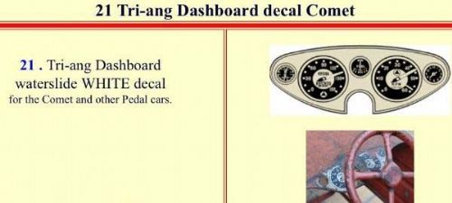 21 Tri-ang Dashboard decal Comet